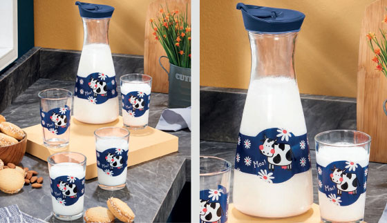 Set de botella lechera mas 4 vasos primavera